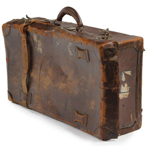 Distressed Leather Suitcase - Brown