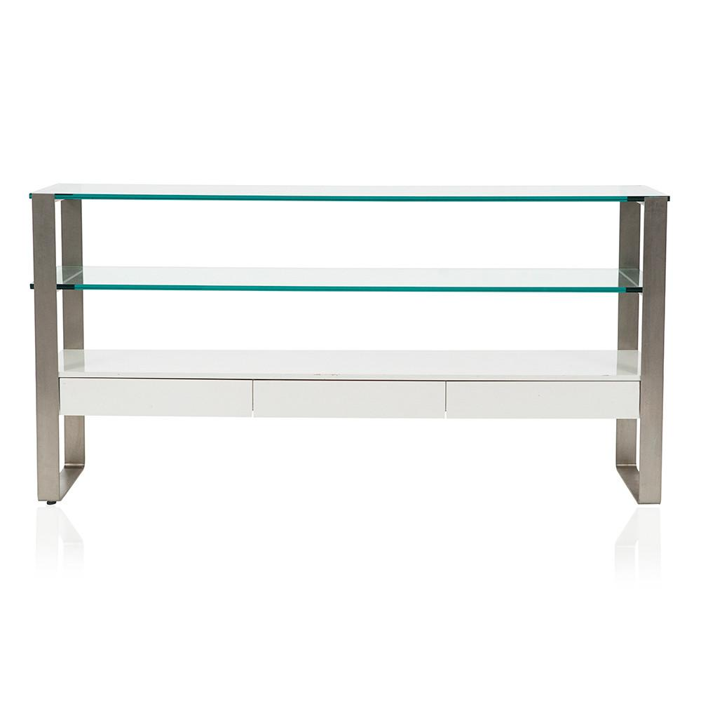Two Panel Glass and Chrome Frame Credenza