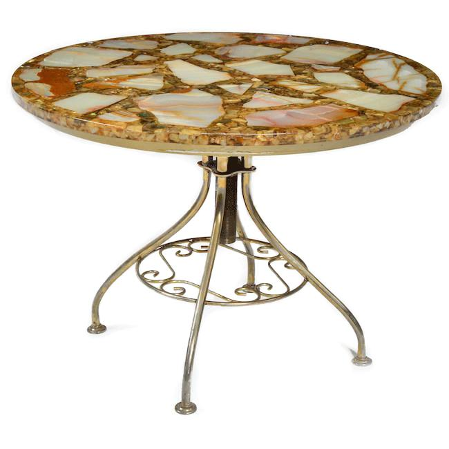 Resin Brown Round Side Table