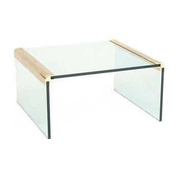 Glass Waterfall Coffee Table with Brass Corners