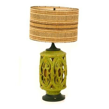 Green Ceramic Table Lamp #1