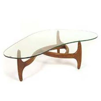 Organic Wood Tri-Leg Coffee Table with Glass Top