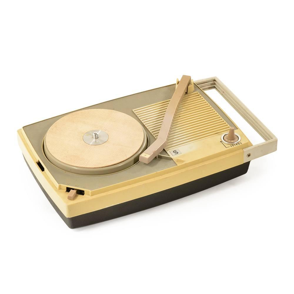 Beige Portable Turntable