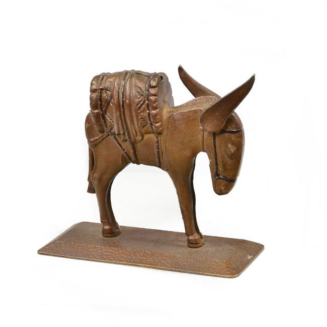 Brown Wood Donkey Sculpture