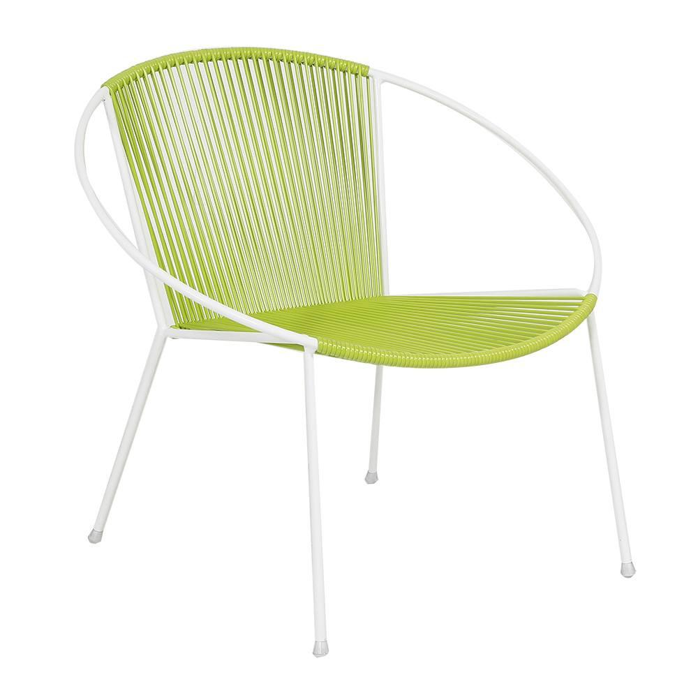 Cord Hoop Chair - Green with White Frame