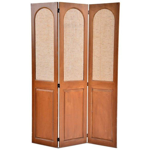 Three-Panel Fabric & Wood Divider
