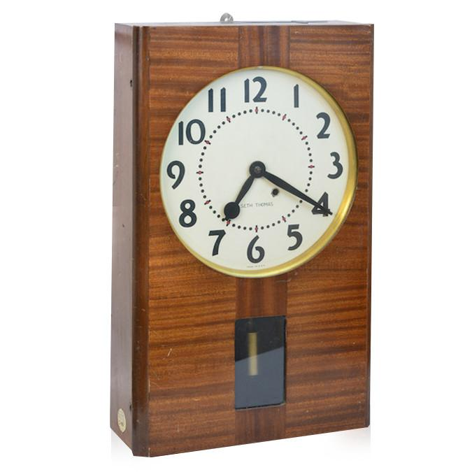Brass and Wood Wall Clock - Seth Thomas