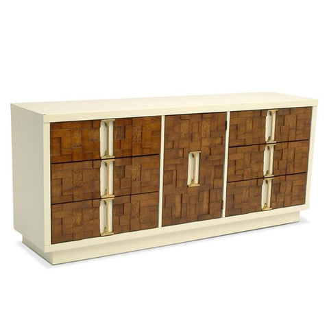 Wood Block and White Credenza Dresser