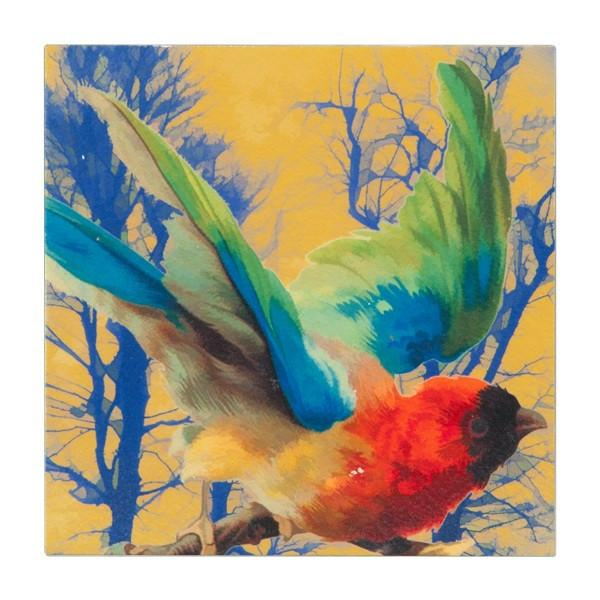 "100-305 Copper Bird Blue Trees (6"" x 6"")"