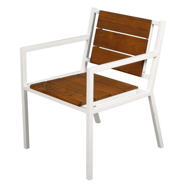 Modernica White Teak Dining Chair With Arms