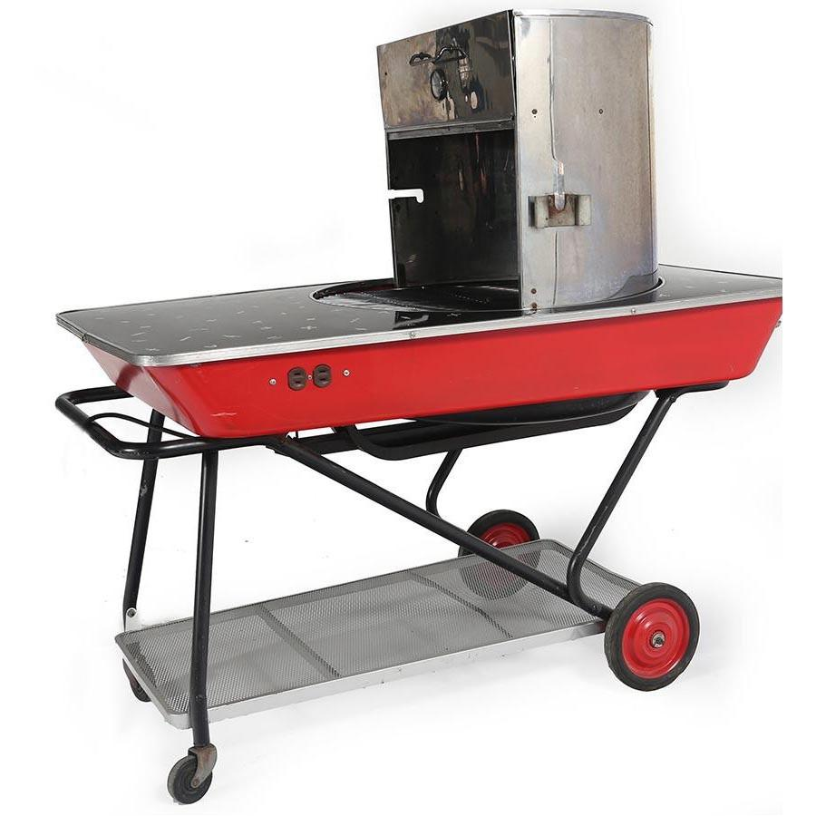 Large Black + Red Electric Grill On Cart