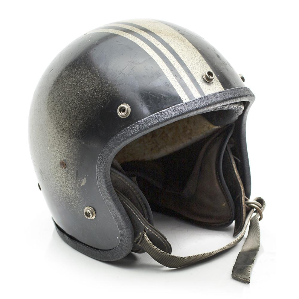 Black and Gold Striped Motorbike Helmet