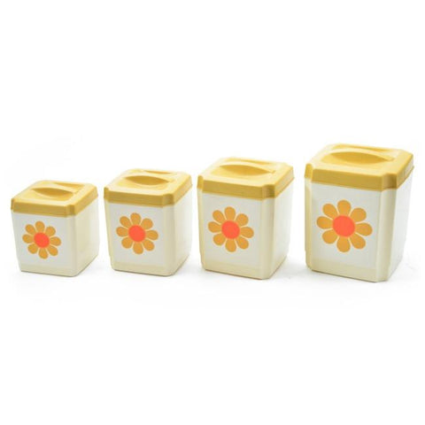 Canisters - White & Yellow Flower Set