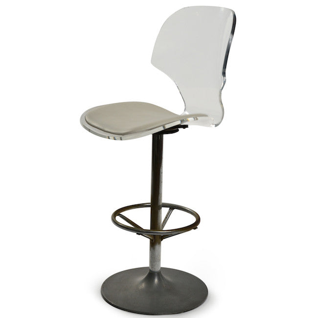 Lucite Back Chrome Stool