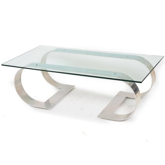 Bent Metal Base Glass Coffee Table