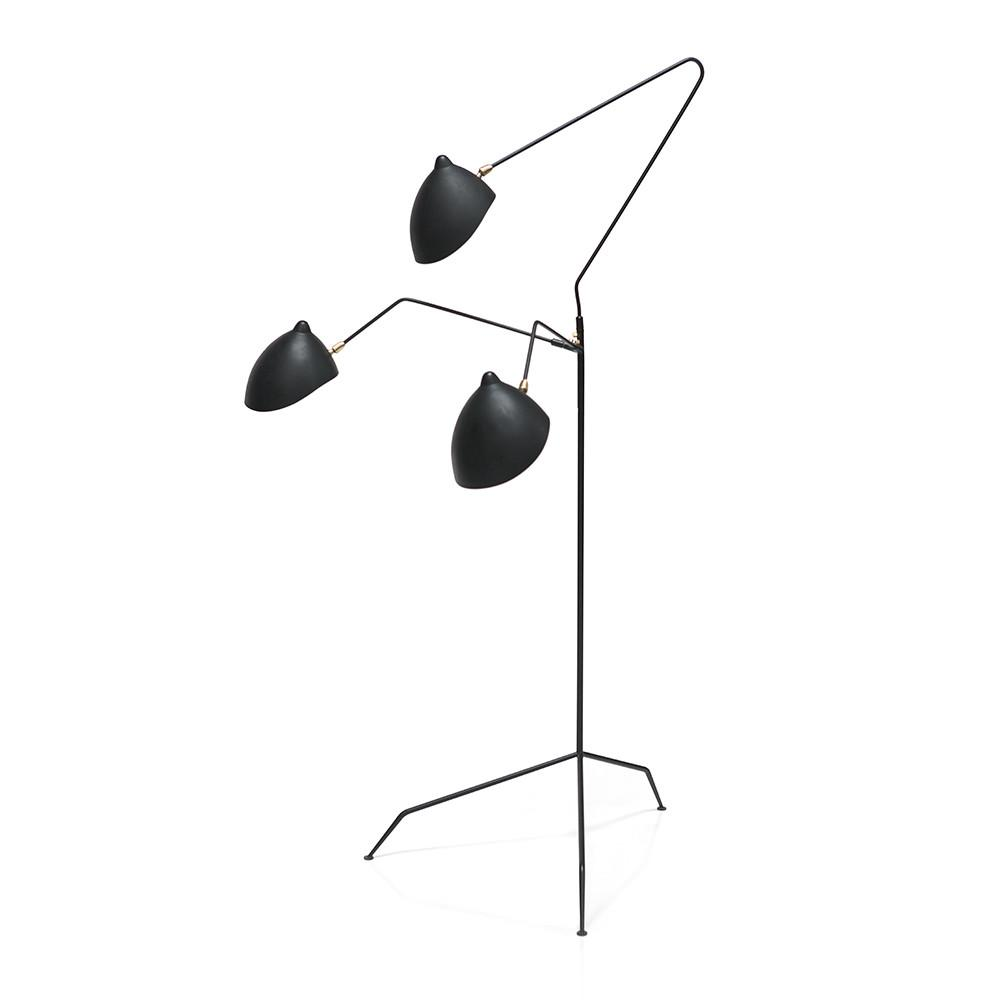 Black Mouille 3 Arm Standing Lamp