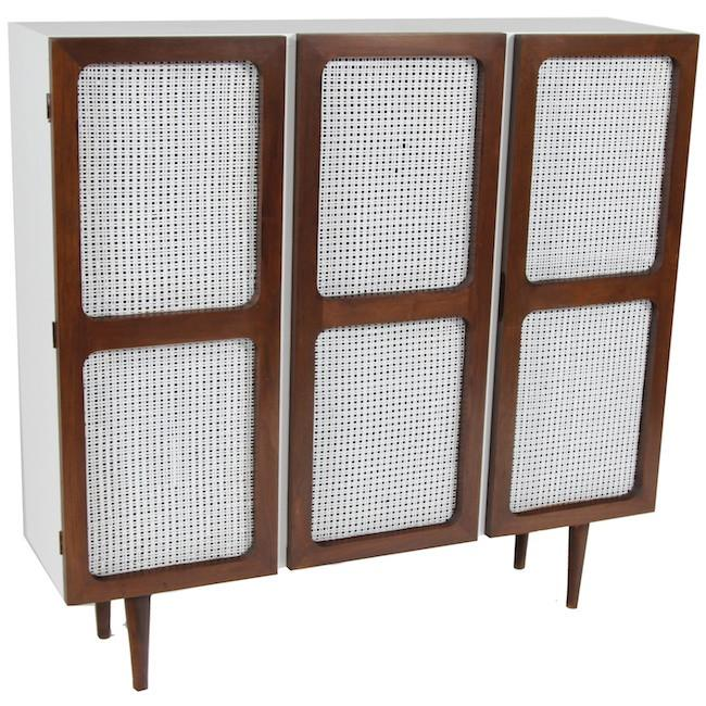 White Cabinet with Wood & Wicker Doors