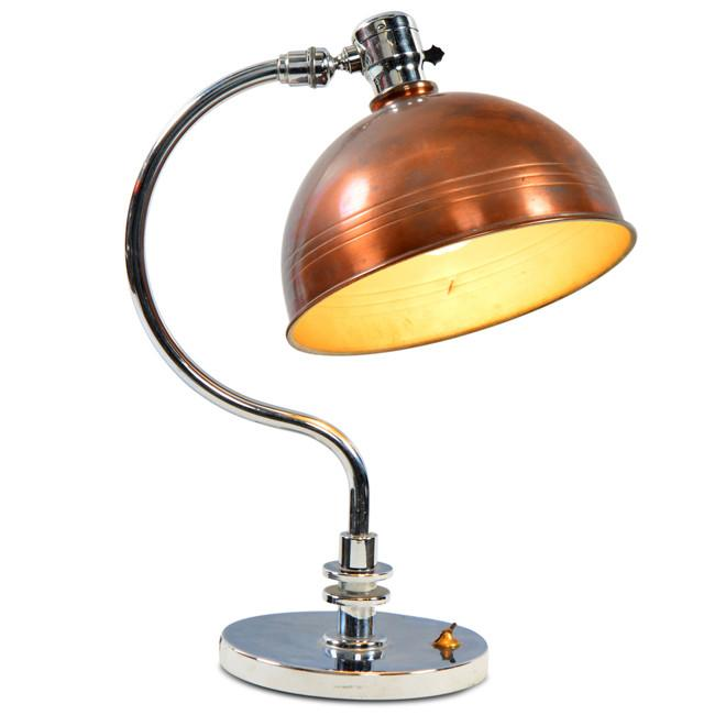 Chrome with Bronze Shade Desk Lamp