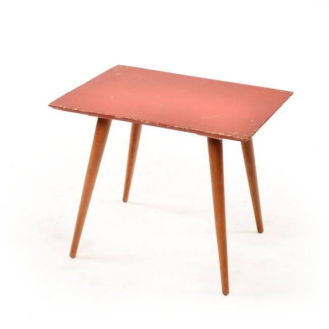 Splayed Leg Table - Red & Green