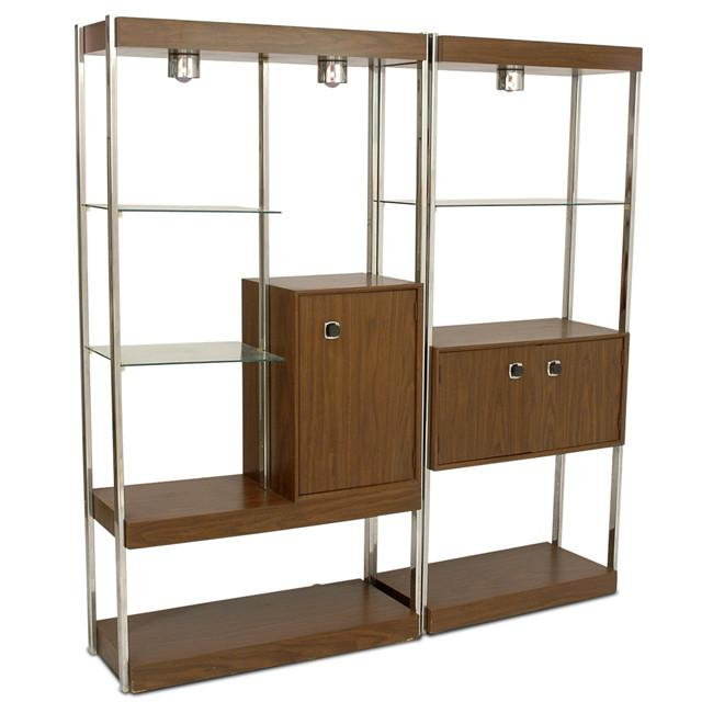 Wood and Chrome Wide Bookshelf Wall Unit