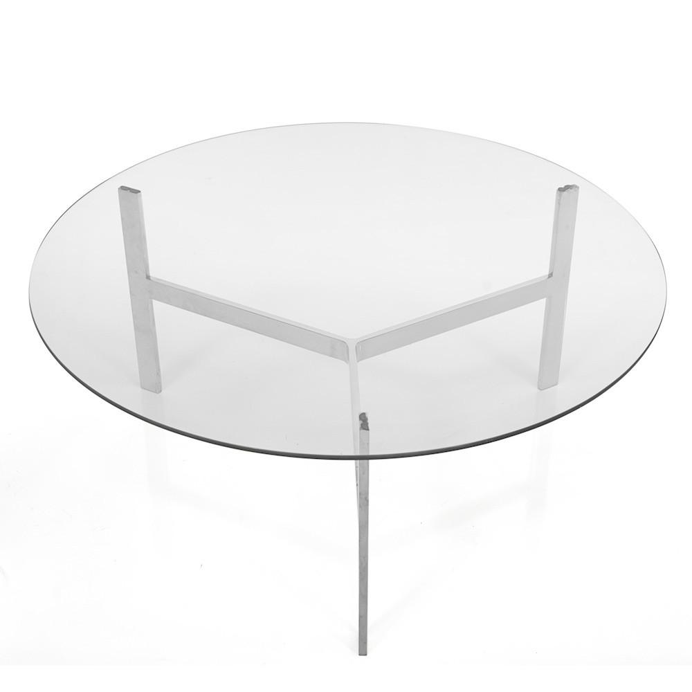 Chrome Three Leg Glass Top Table