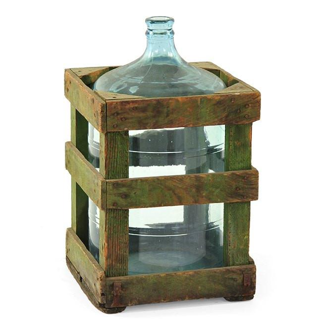 Glass 5 Gal Water Jug with Wood Crate Case