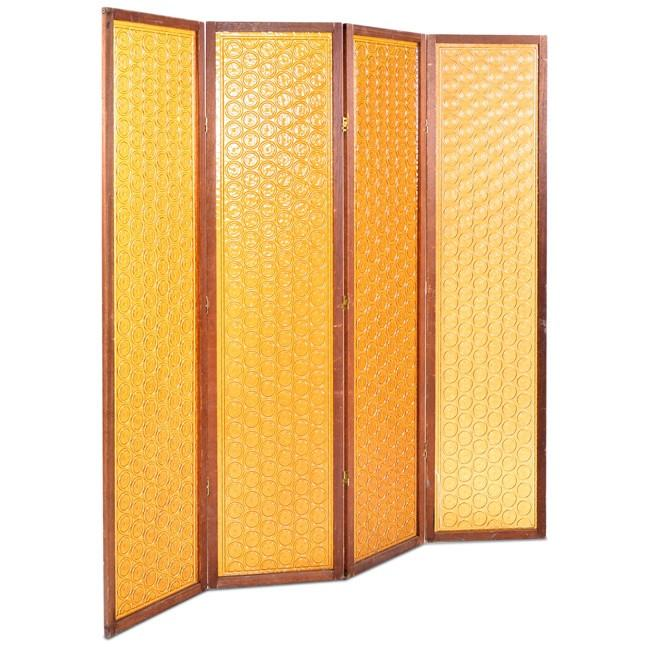 Wood and Orange Plastic Screen