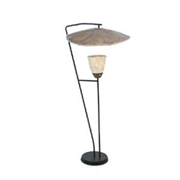 Black Floor Lamp with Natural Shades