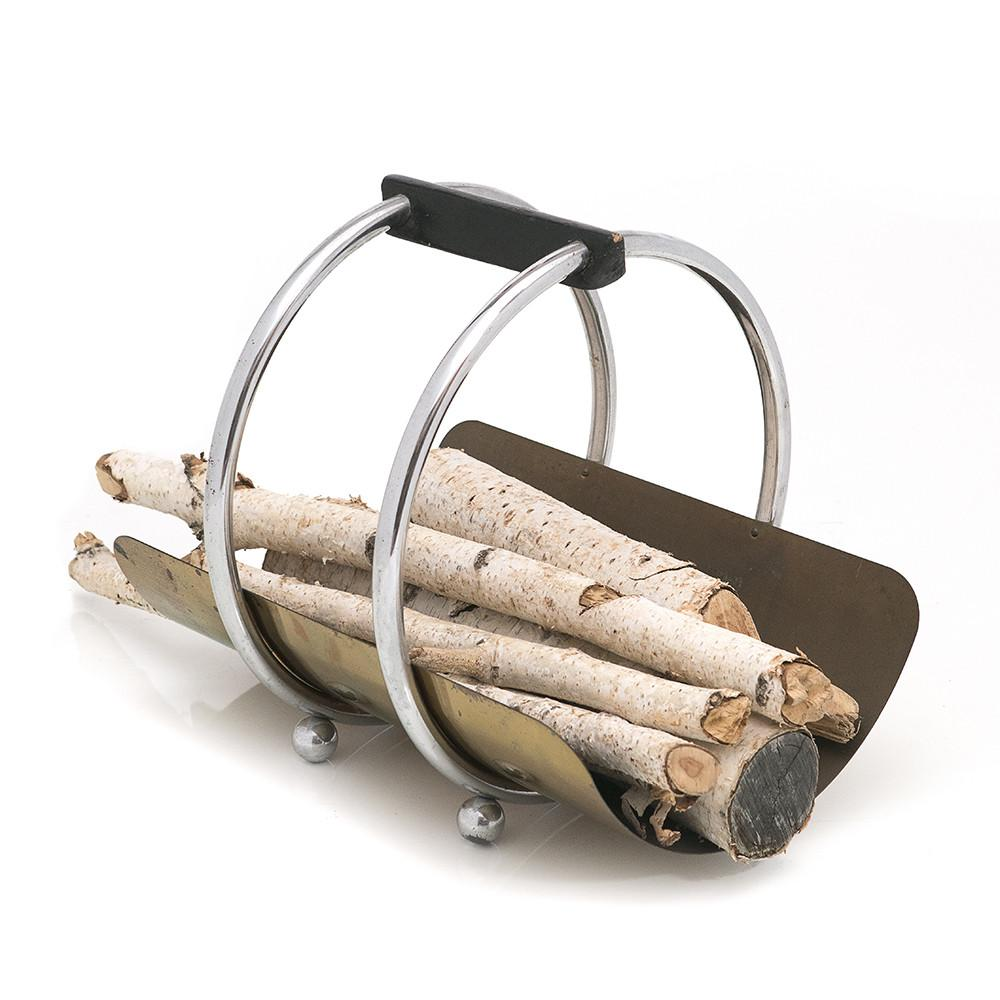 Silver Circle Firewood Holder with Logs