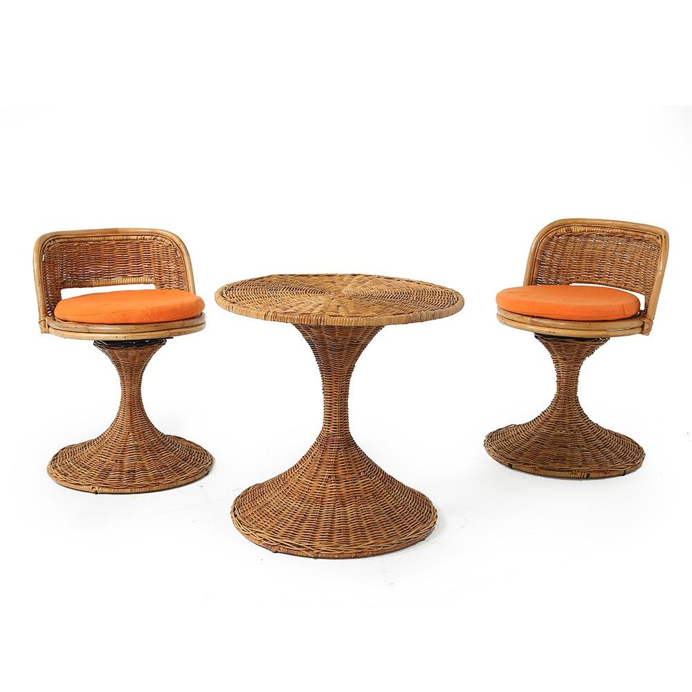 Mini Wicker Table and Chairs