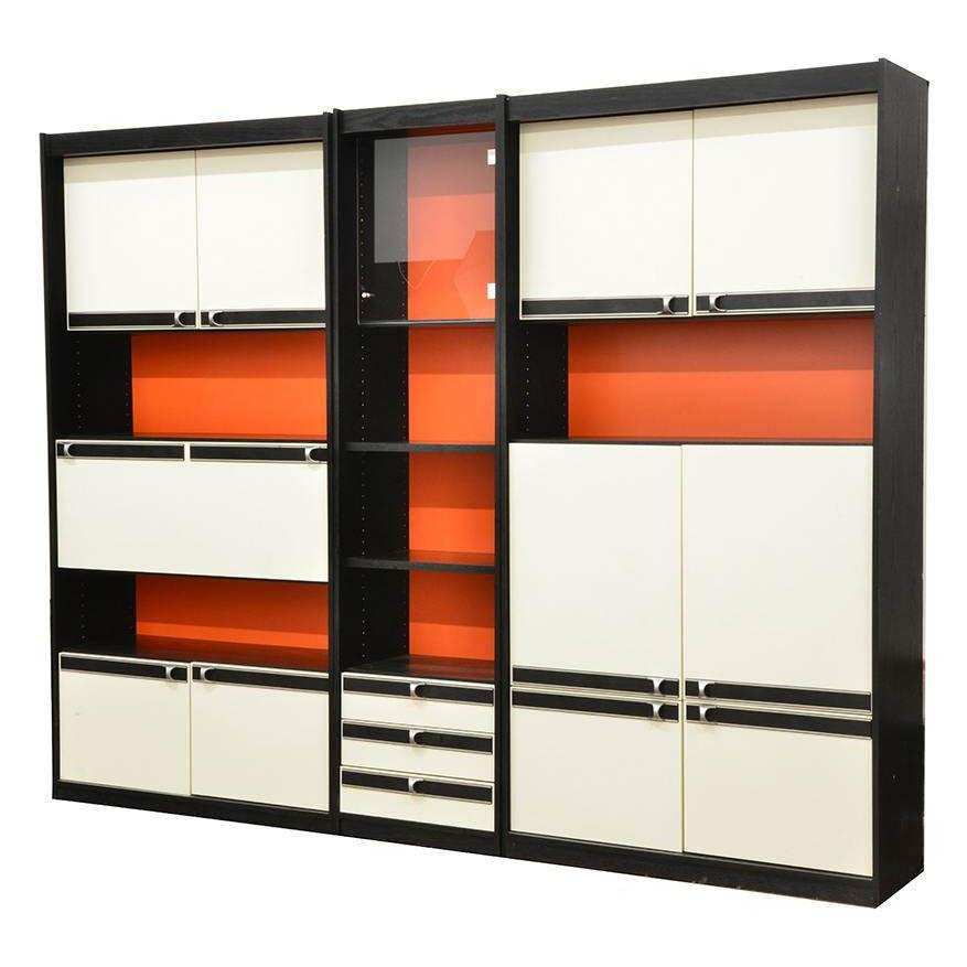 Red, White, Black Sectional Wall Unit