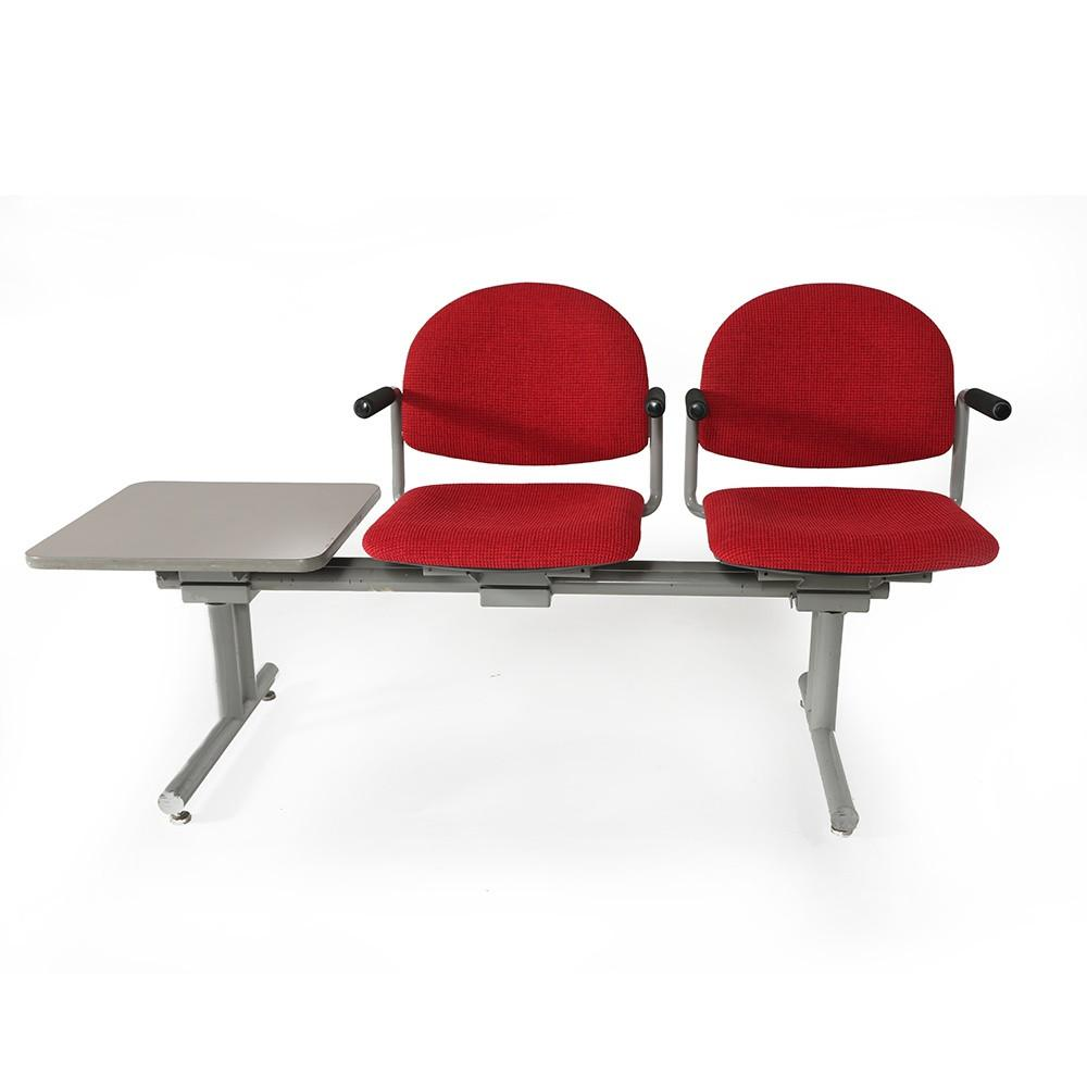 Red Waiting Room Seat with Side Table