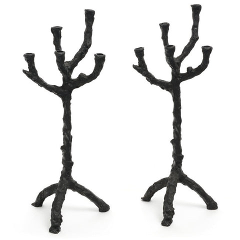 Black Abstract Candle Holder Pair