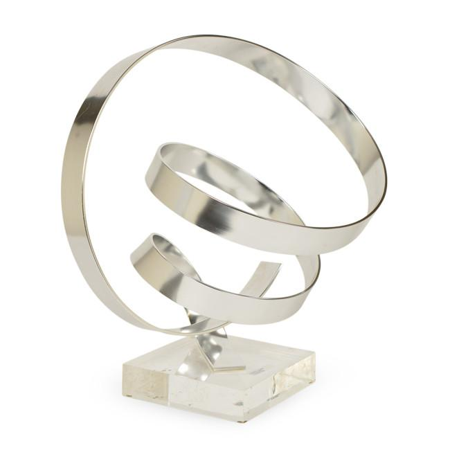 Chrome Ribbon Spiral Table Sculpture