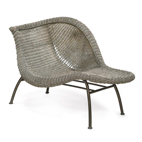 Distressed Grey Wicker Chaise Chair