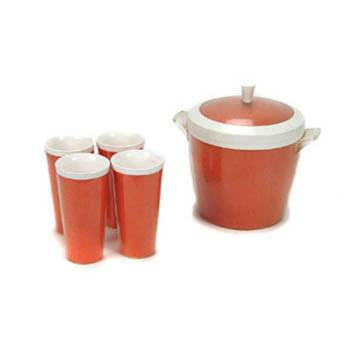 Ice Bucket - Orange with Matching Cups Set