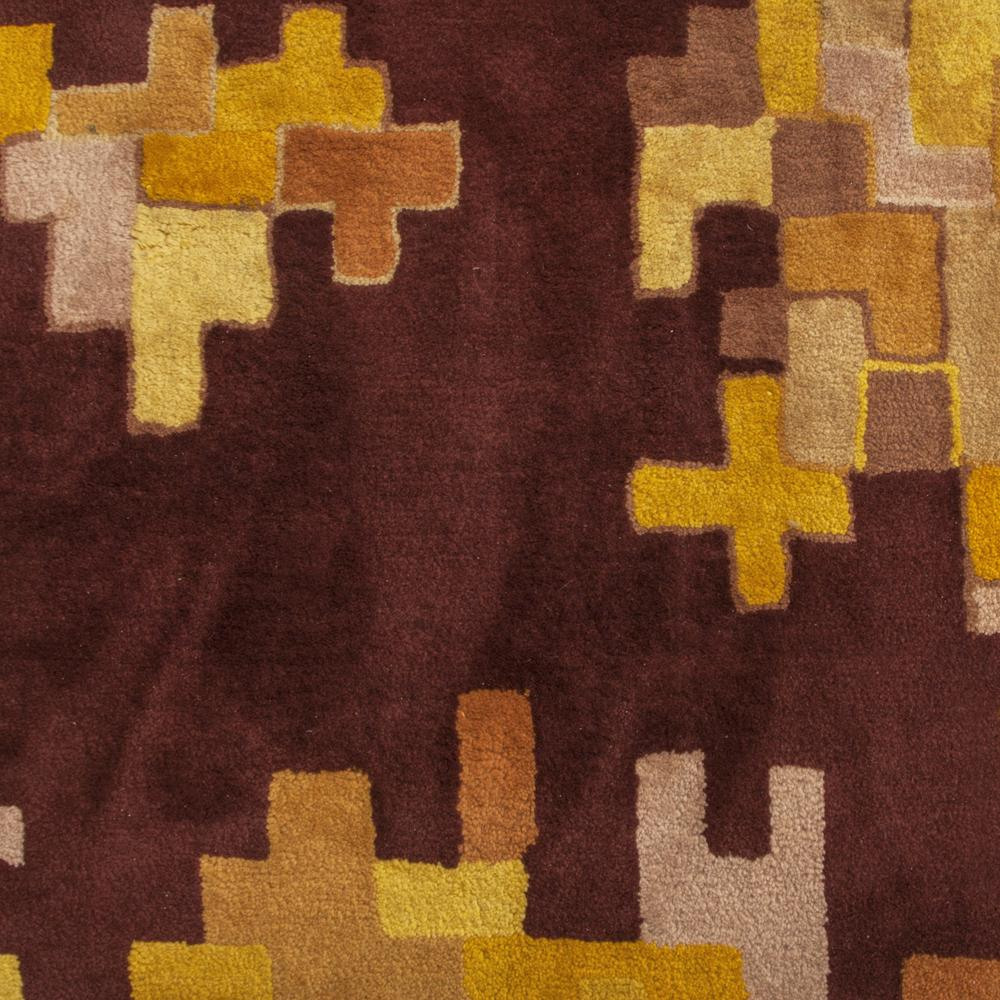 Yellow and Brown Patterned Rug - 70's