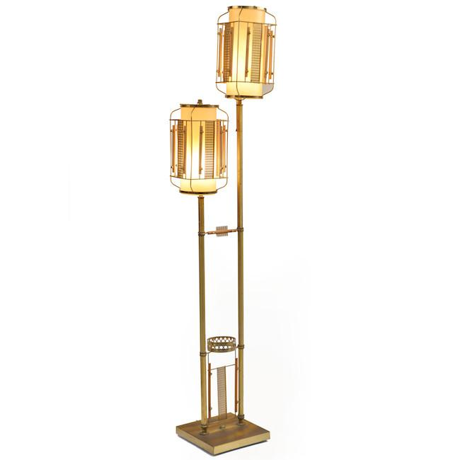 Brass Double Shade Floor Lamp