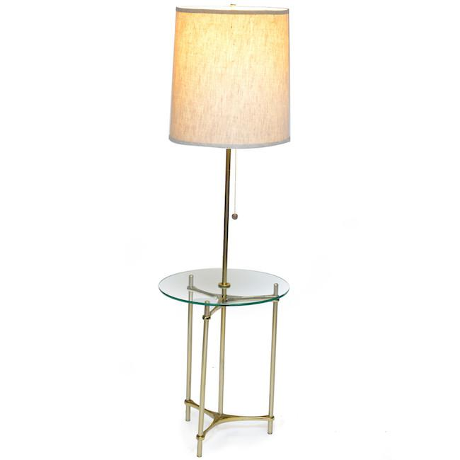 Glass Table Lamp with Brass Frame