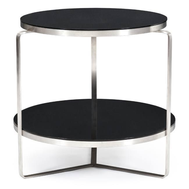 Black and Chrome Round Cafe Table