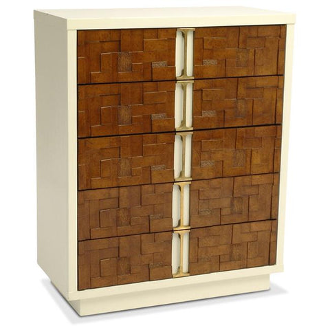 Wood Block and White Tallboy Dresser