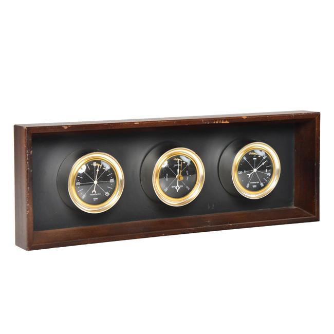 Black and Wood Thermometer, Barometer, and Hygrometer