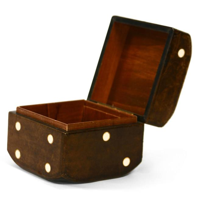 Dice Shape Dark Wood Keepsake Box