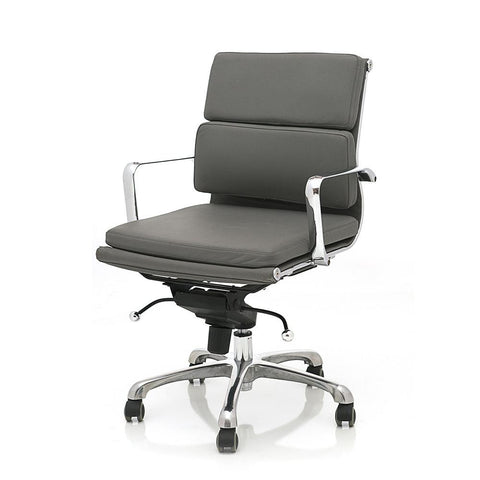 2 Pad Grey Leather Office Chair