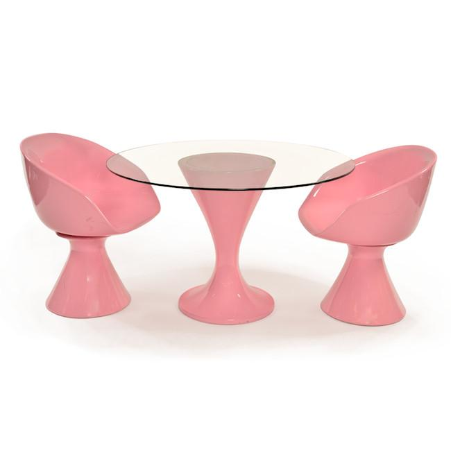 Pink Bucket Chairs & Dining Table
