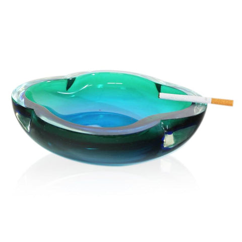 Aqua Floral Shaped Ashtray