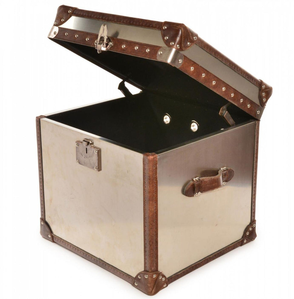 Trunk - Metal and Leather Square