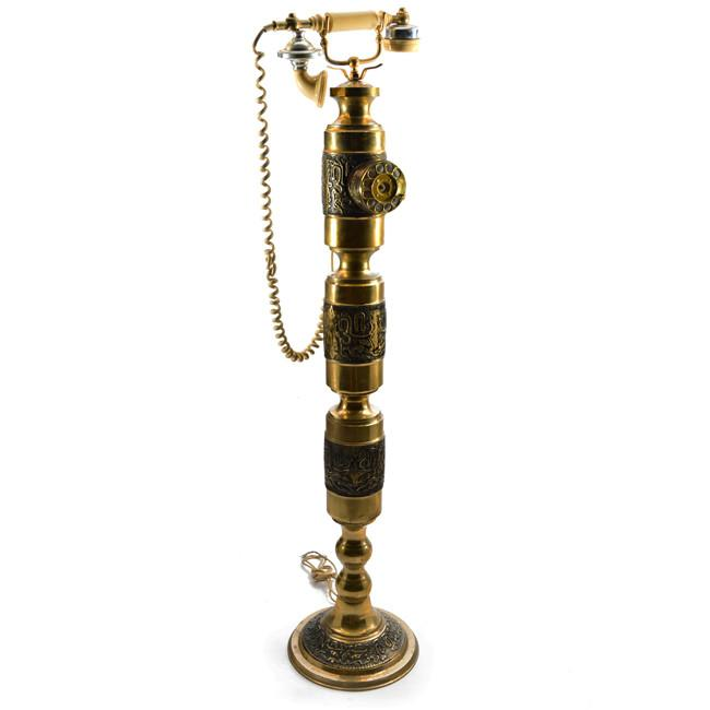 Ornate Gold and Black Tall Telephone on Stand