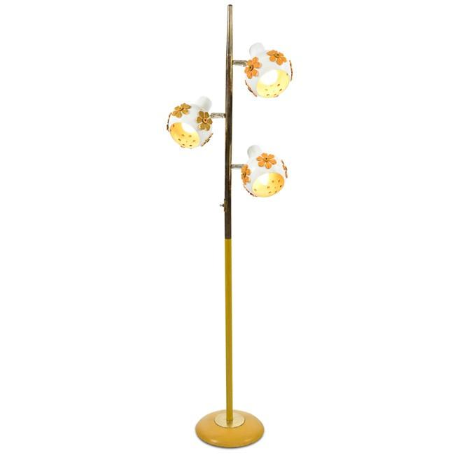 Brass and White Floor Lamp with Flowers