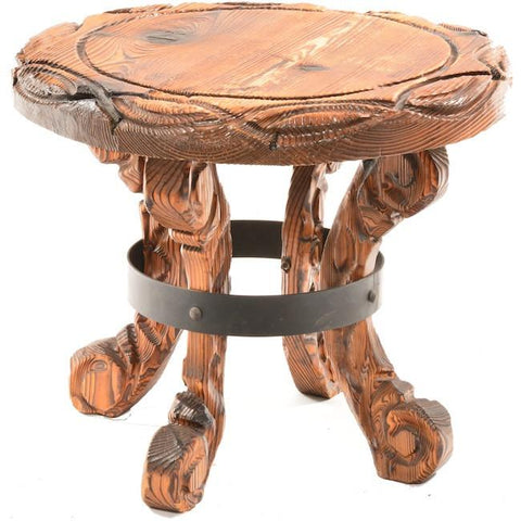 Dark Wood Round Top Side Table